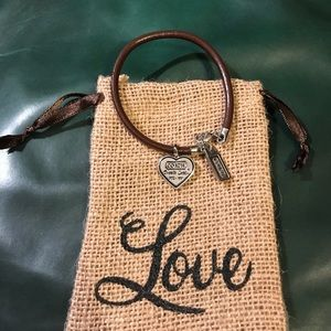 Coach charm leather bracelet
